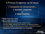 3 primary endpoints at 30 days
