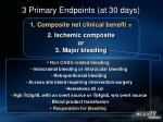 3 primary endpoints at 30 days11