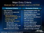 major entry criteria