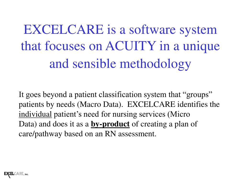EXCELCARE is a software system that focuses on ACUITY in a unique and sensible methodology