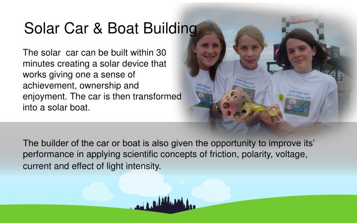 The solar  car can be built within 30 minutes creating