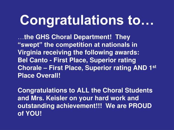 Congratulations to…