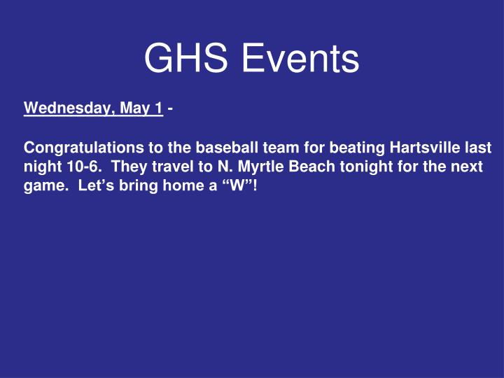 GHS Events