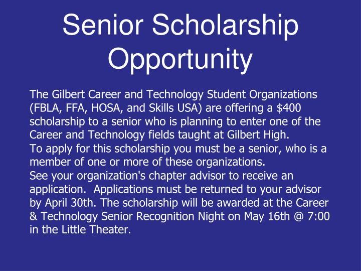Senior Scholarship Opportunity