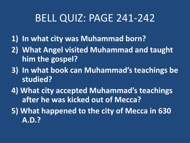 bell quiz page 241 242 n.