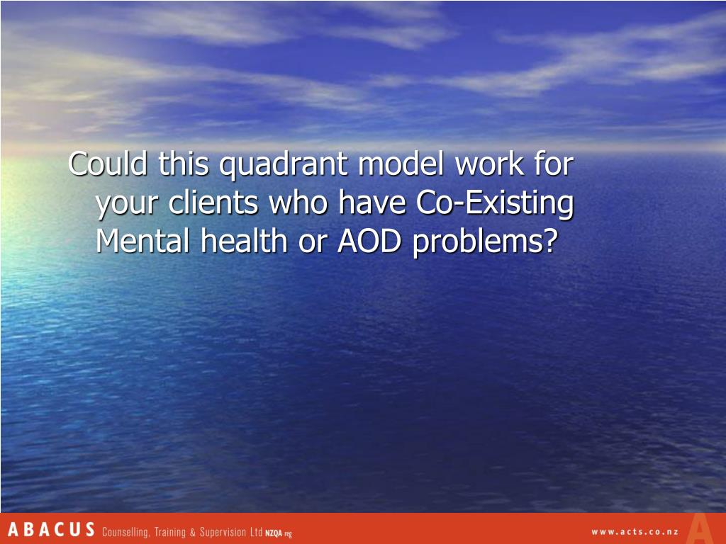 Could this quadrant model work for your clients who have Co-Existing Mental health or AOD problems?