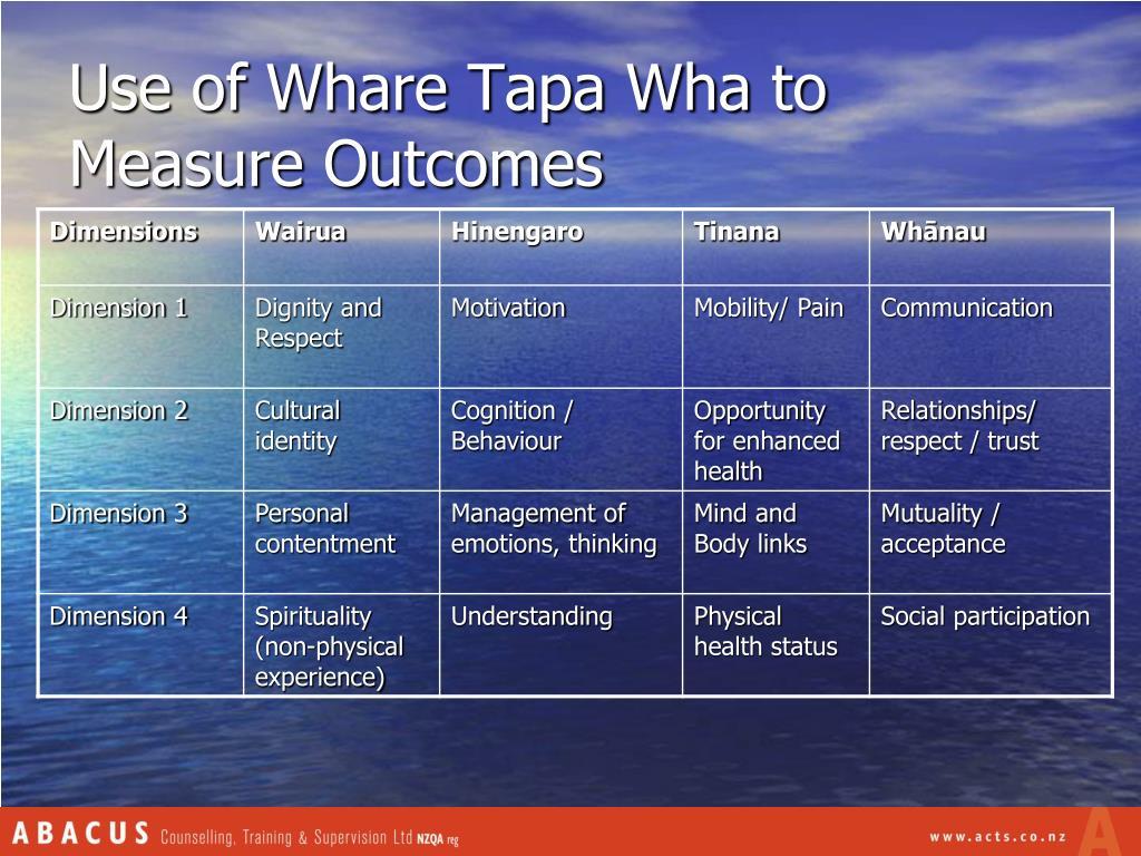 Use of Whare Tapa Wha to Measure Outcomes