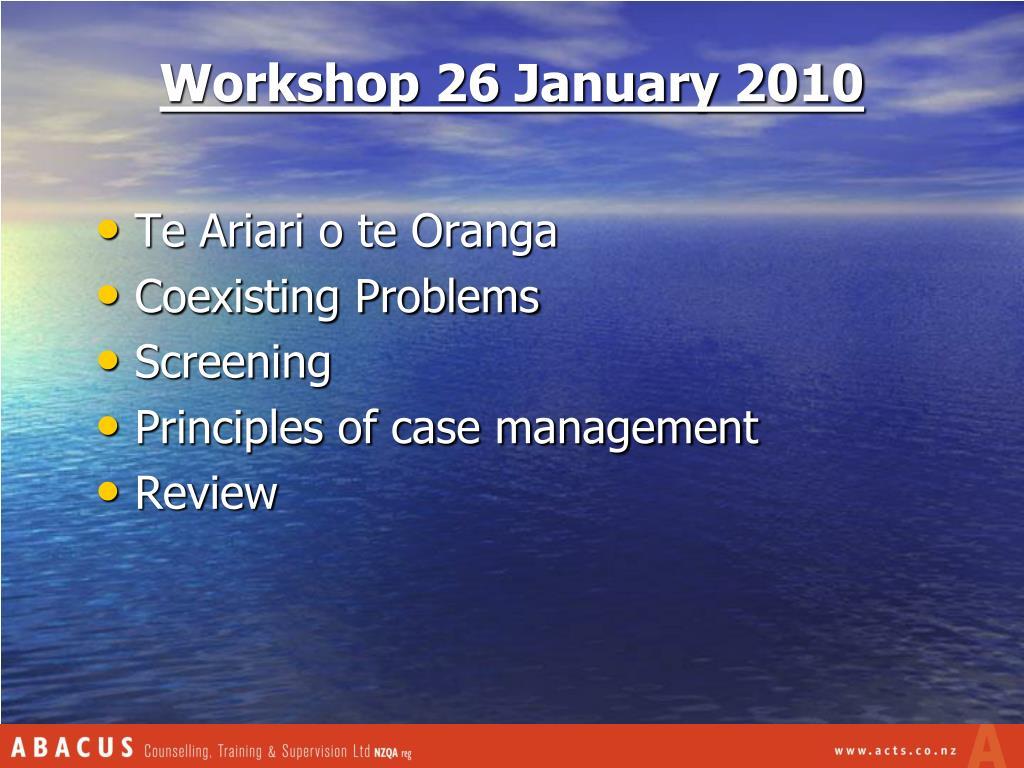 Workshop 26 January 2010