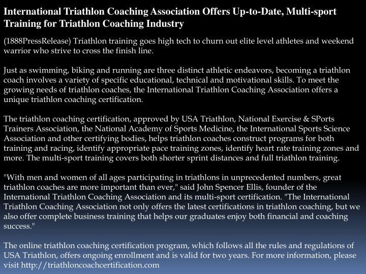 International Triathlon Coaching Association Offers Up-to-Date, Multi-sport Training for Triathlon C...