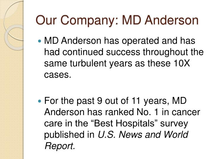 Our Company: MD Anderson