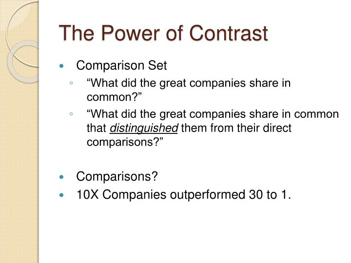 The Power of Contrast