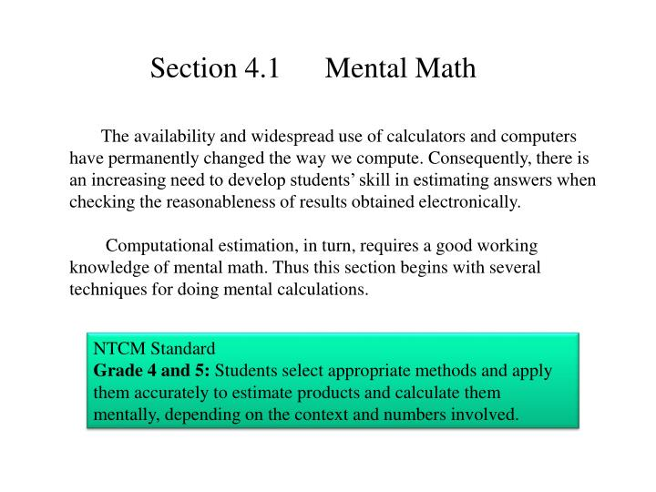 Section 4.1      Mental Math