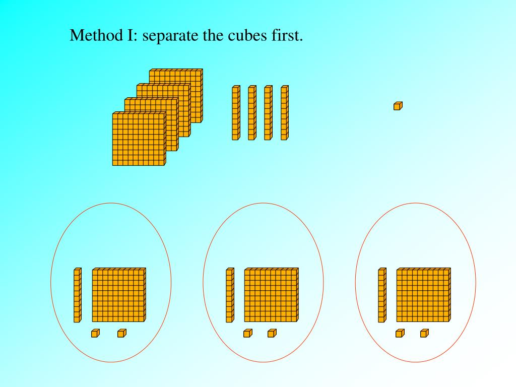 Method I: separate the cubes first.