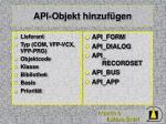 api objekt hinzuf gen