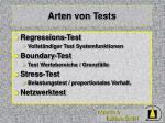 arten von tests