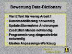bewertung data dictionary