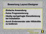 bewertung layout designer
