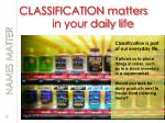 classification matters in your daily life