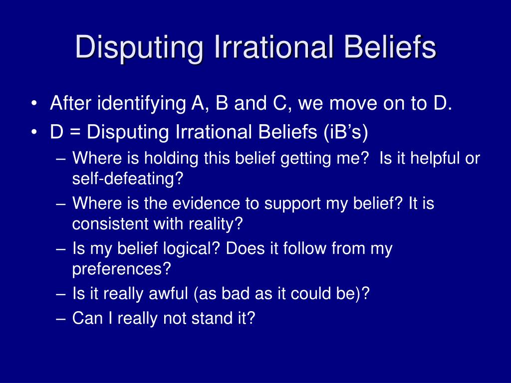 PPT - SMART Recovery ® Introduction to the ABC's ... Irrational Thinking