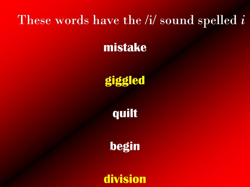 These words have the /i/ sound spelled