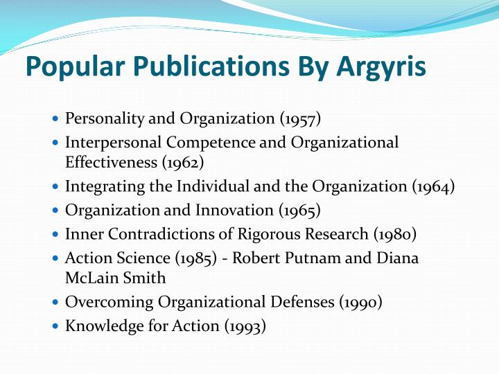 Chris argyris teaching smart people how to learn