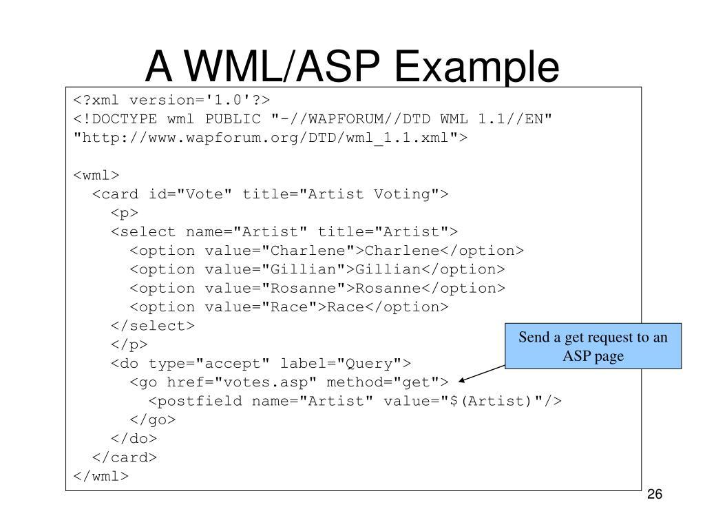 A WML/ASP Example
