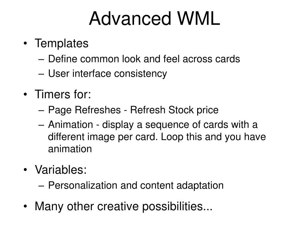 Advanced WML