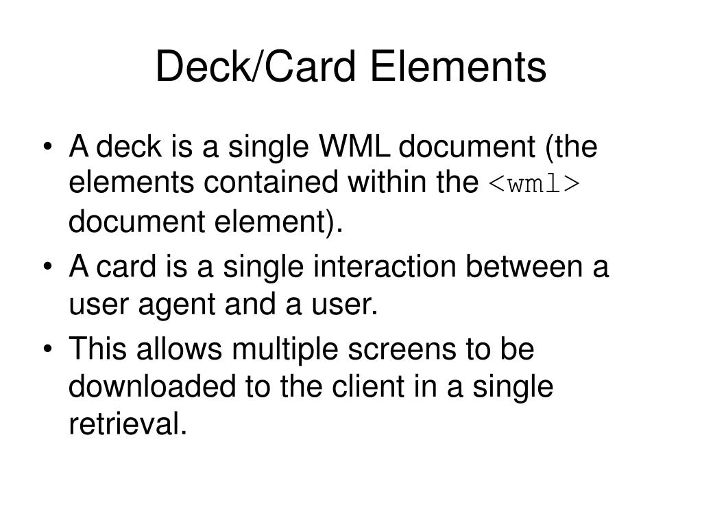 Deck/Card Elements