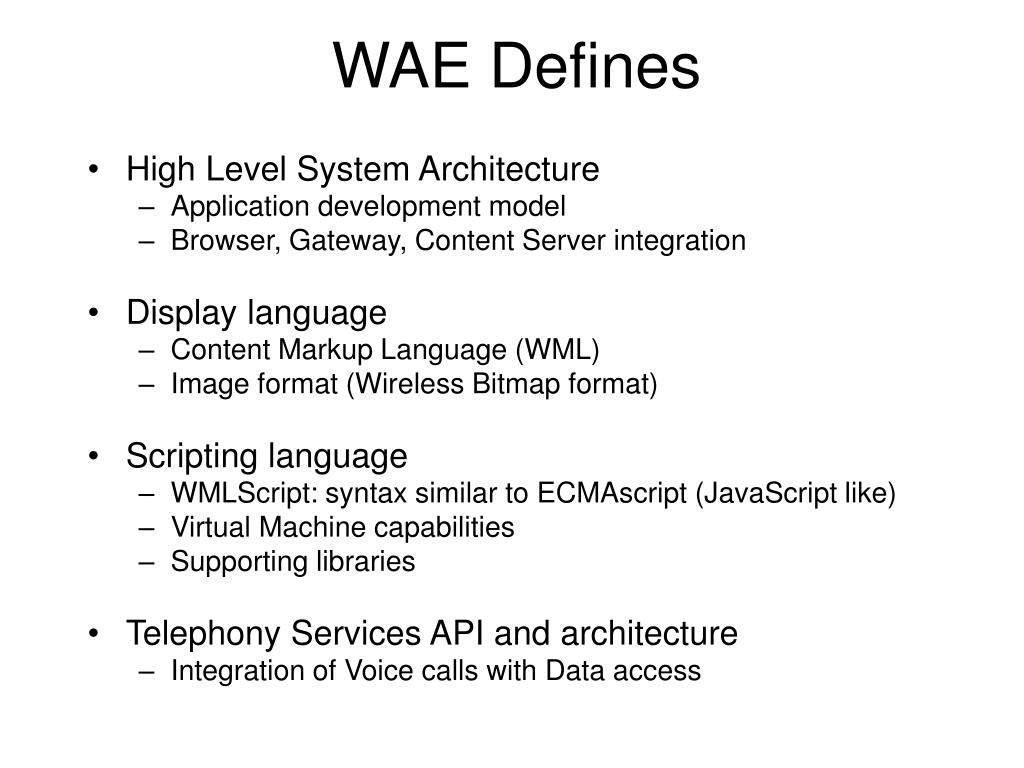 WAE Defines