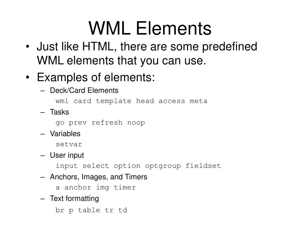 WML Elements