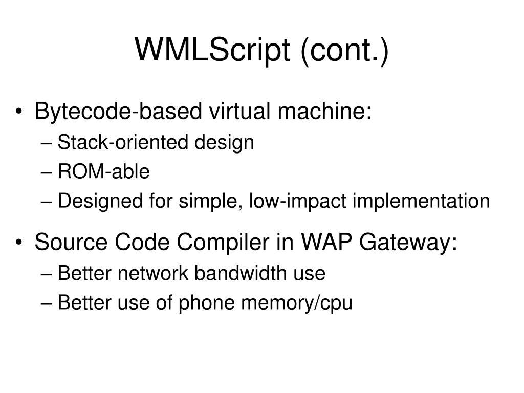 WMLScript (cont.)