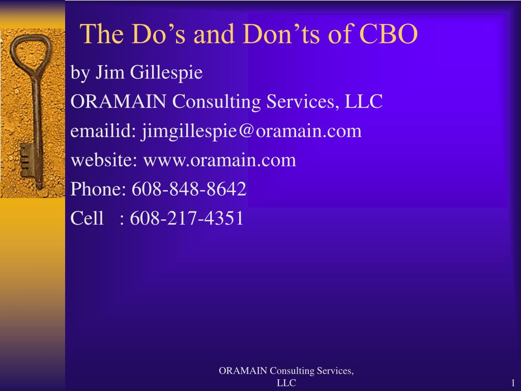 the do s and don ts of cbo l.