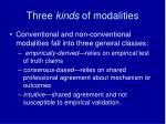 three kinds of modalities