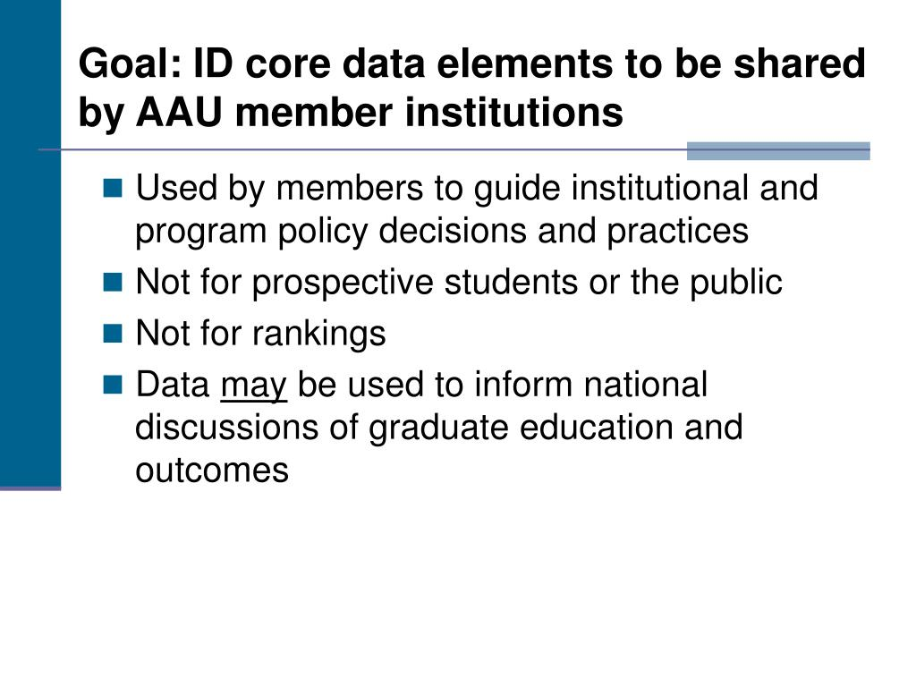 Goal: ID core data elements to be shared by AAU member institutions