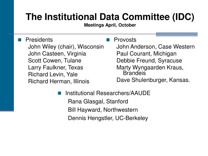 The institutional data committee idc meetings april october