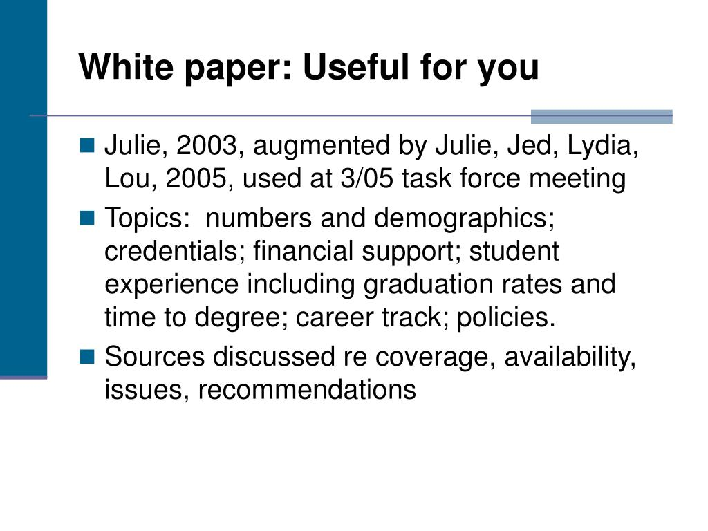 White paper: Useful for you