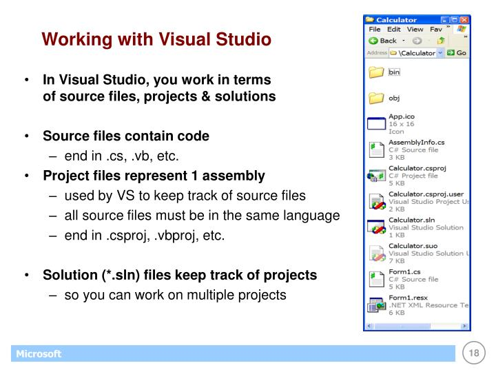 Working with Visual Studio