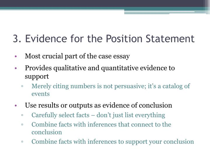 3. Evidence for the Position Statement