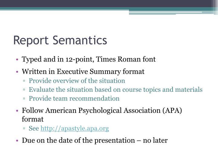 Report Semantics