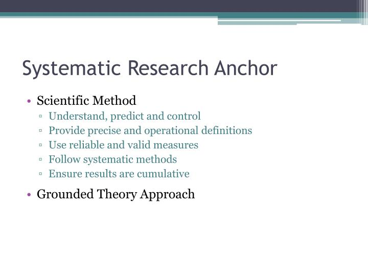 Systematic Research Anchor