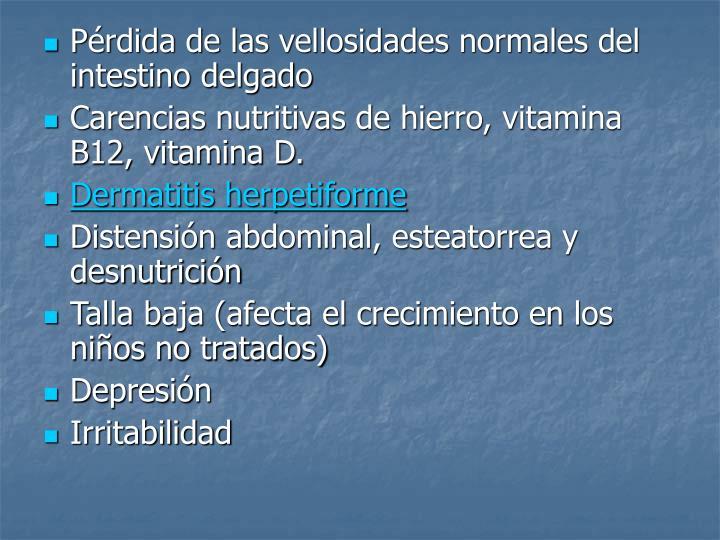 Pérdida de las vellosidades normales del intestino delgado
