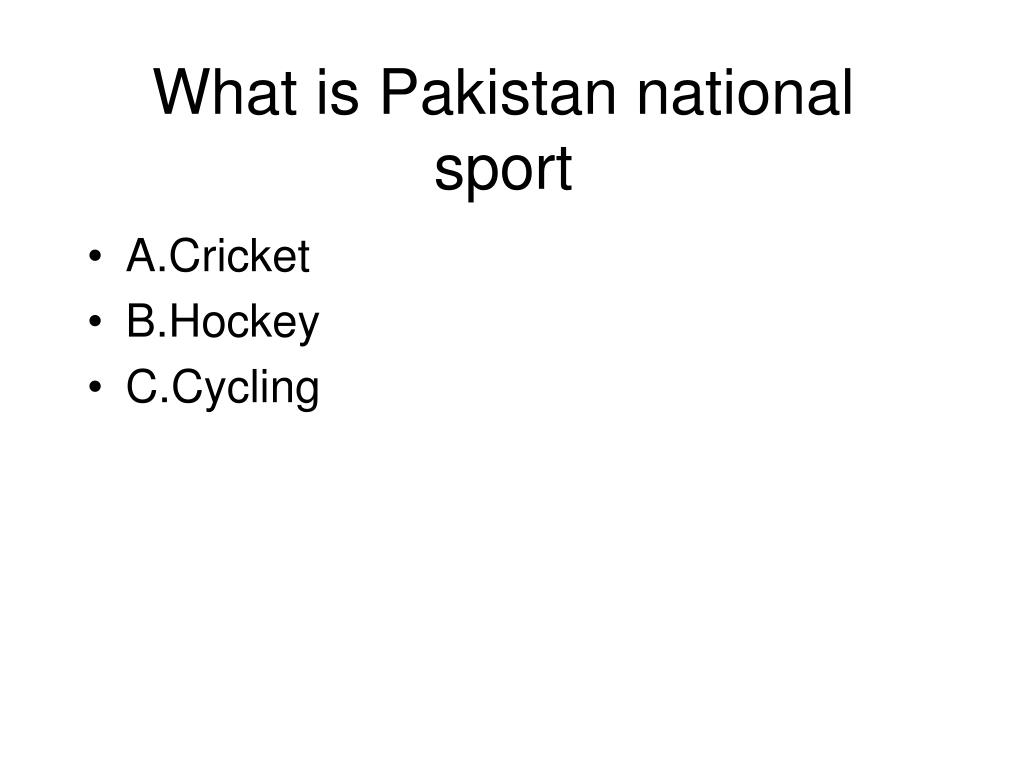 What is Pakistan national sport