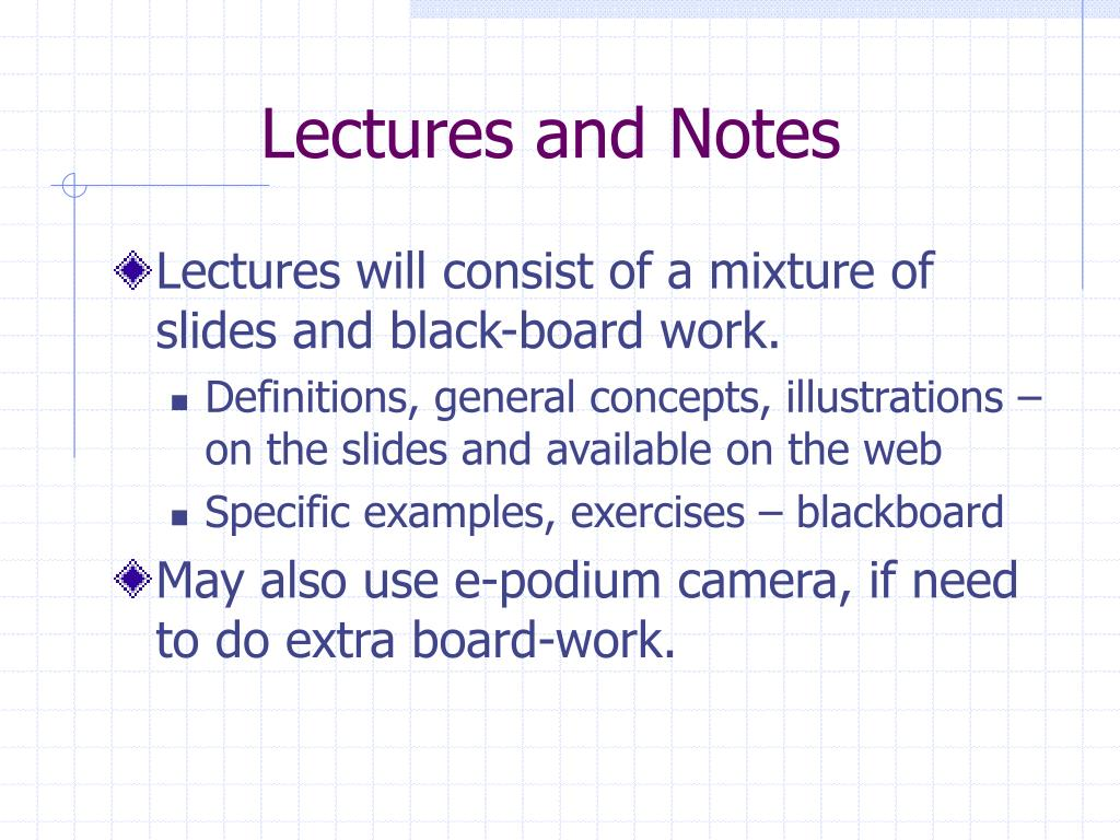 Lectures and Notes