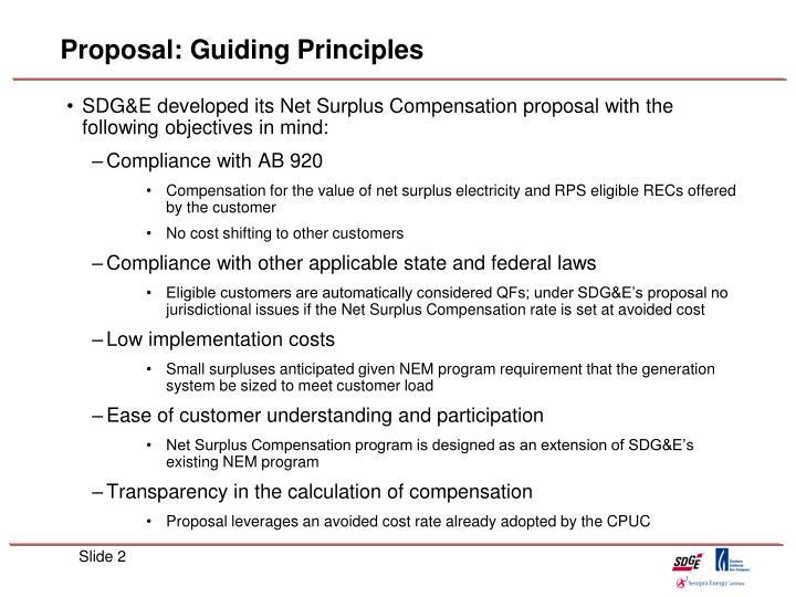 Proposal guiding principles