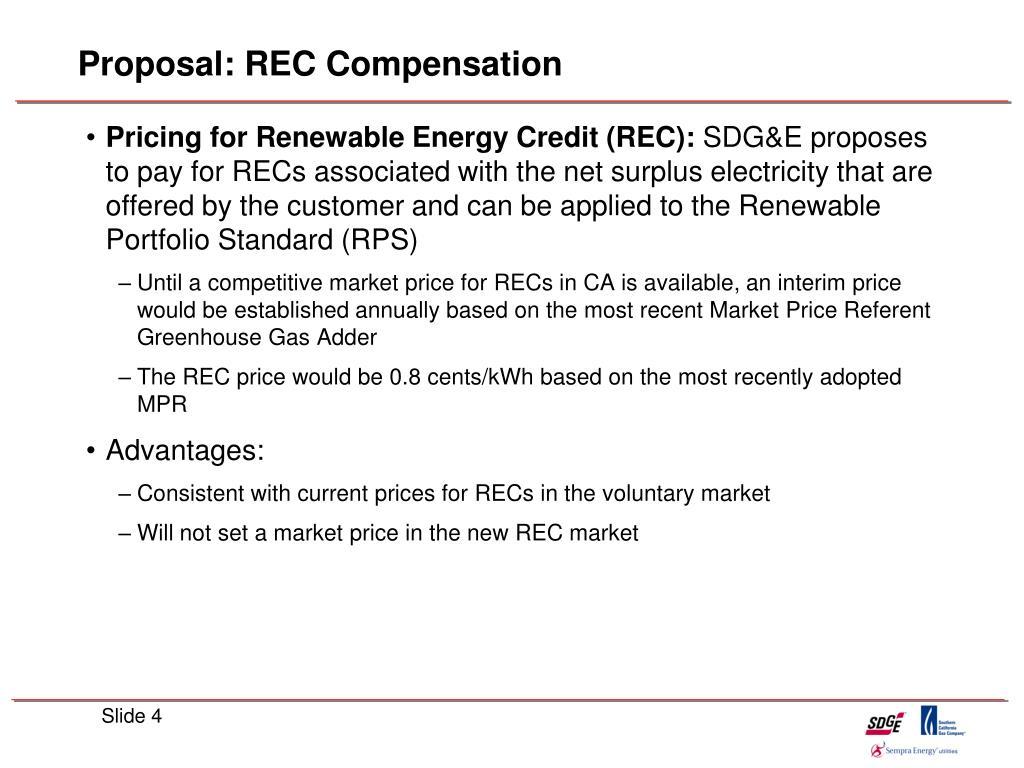 Proposal: REC Compensation