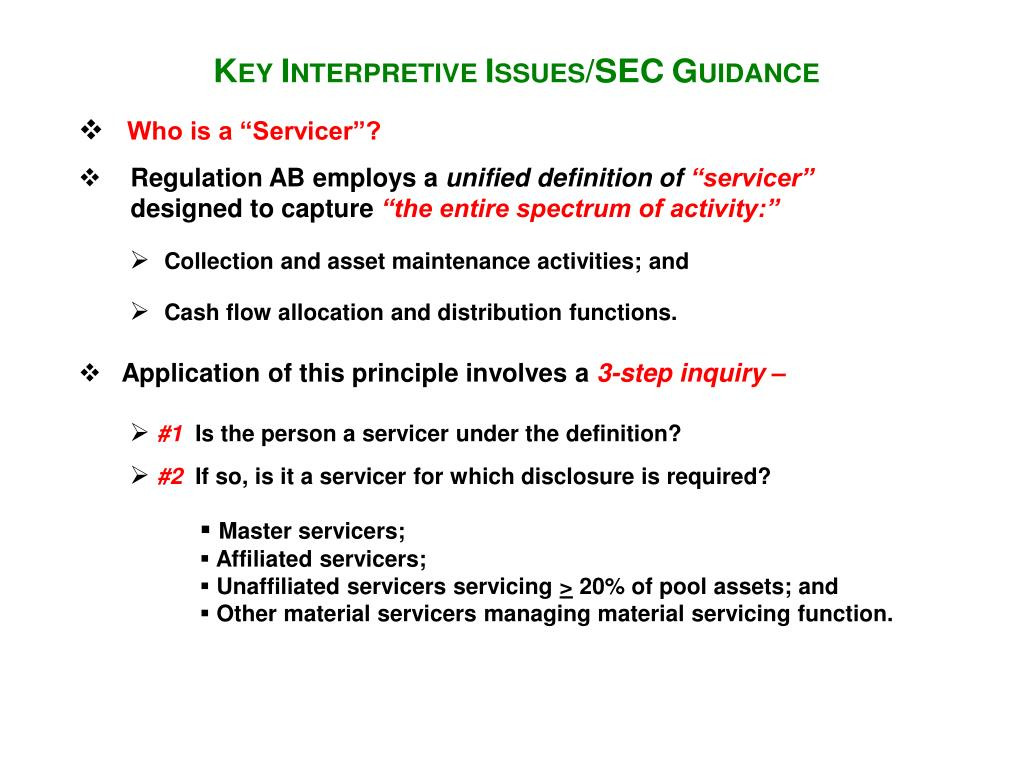 """Who is a """"Servicer""""?"""