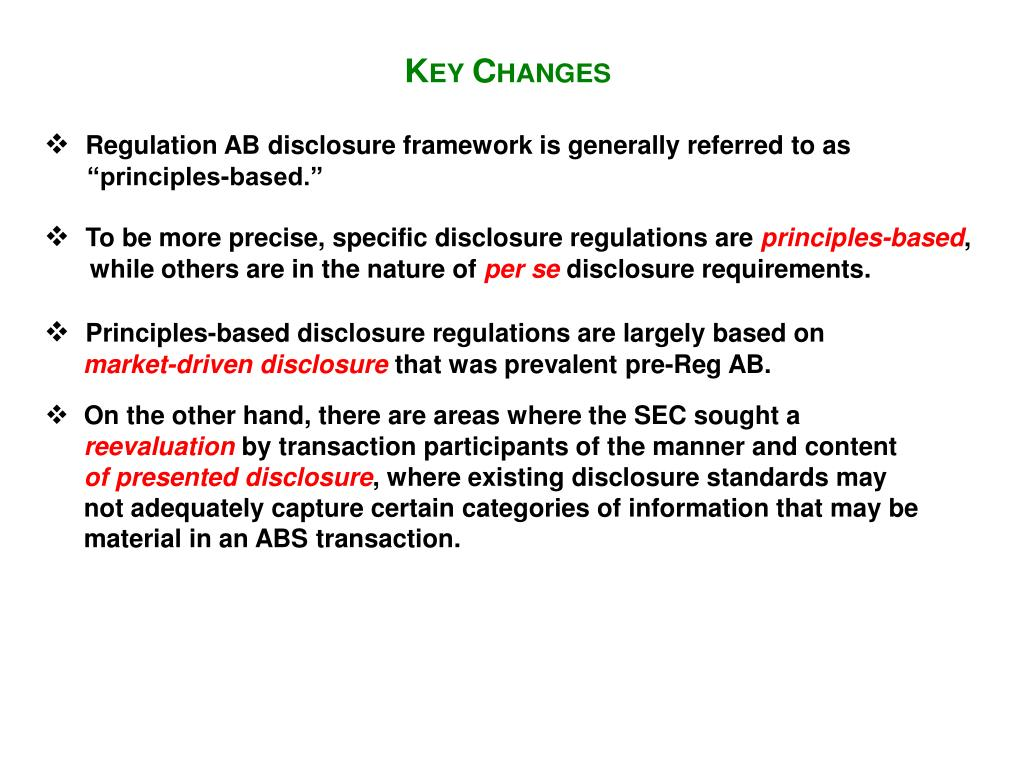Regulation AB disclosure framework is generally referred to as