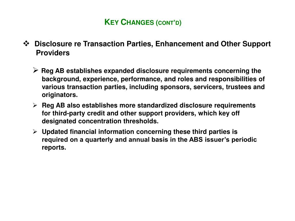 Disclosure re Transaction Parties, Enhancement and Other Support