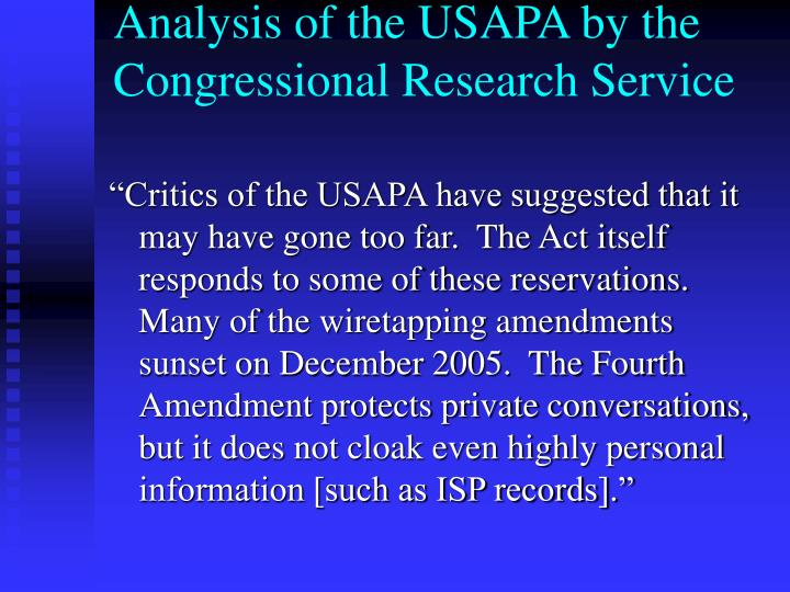 Analysis of the USAPA by the Congressional Research Service