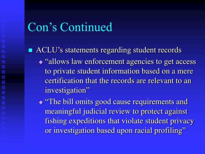 Con's Continued
